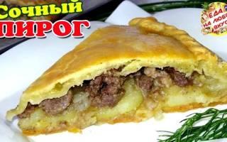 Пирог из дрожжевого теста с мясом и картошкой в духовке