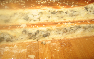 Пирог с грибами и рисом