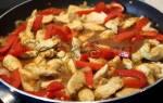 Курица с болгарским перцем на сковороде
