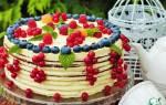 Торт украшенный голубикой