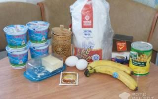 Торт с ананасом и бананом