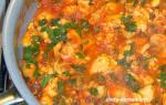 Куриное филе на сковороде с помидорами