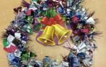 Новогодний венок из конфет