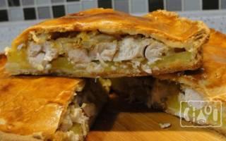 Пирог с копченой курицей