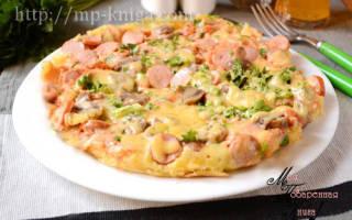 Пицца на сковороде на молоке
