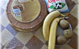 Торт из готовых коржей с бананами