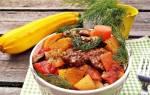 Кабачки тушеные с мясом и картошкой