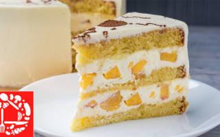 Торт украшенный персиками